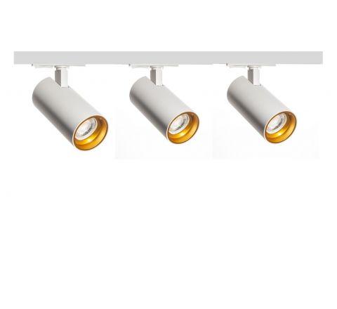 Tube White Gold inset x 3 Track Lighting Kit White Dimmable (1m Track Kit)