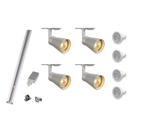 MLS 800112 Avo x 4 Track Kit Silver (2 x 1m tracks and 1 x coupler supplied) Dimmable