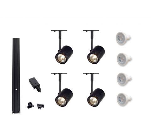 MLS 800042 4 x Bima Spots 2M Dimmable ( 2M Track Kit) Black