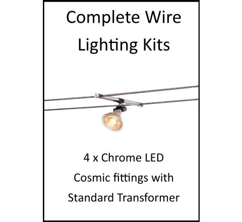 MLS 139097 4m Hi Wire Chrome Kit with 4 x LED Fittings with Standard Transformer