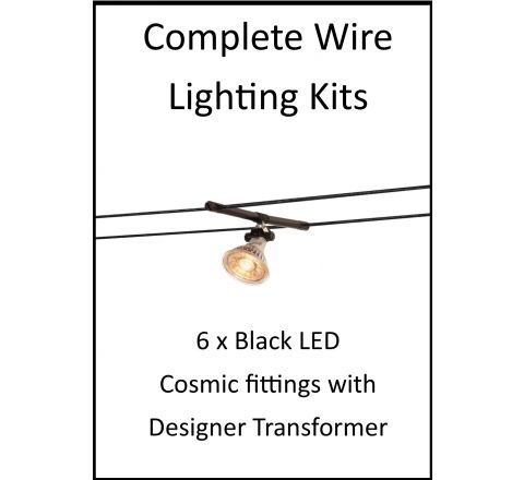 MLS 139204 6m Hi Wire Black Kit with 6 x LED Fittings with Designer Transformer