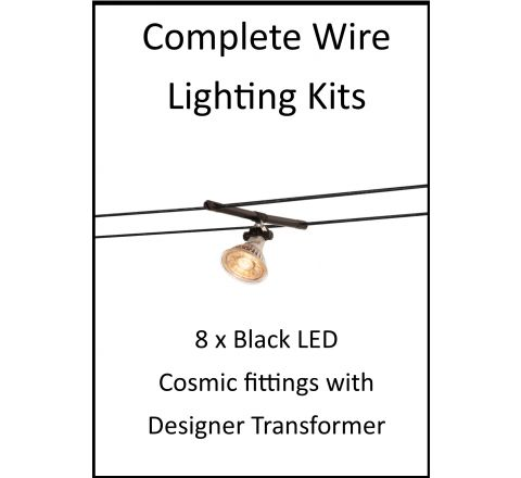 MLS 139205 8m Hi Wire Black Kit with 8 x LED Fittings with Designer Transformer