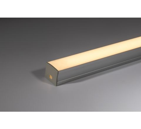 17mm x 14mm Aluminium profile with opal diffuser 2m (supplied with fixing clips and end caps)