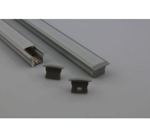 MLS 800028 Aluminium Profile 1m flush fit Single profile deep finish opaque Aluminium