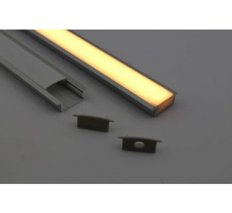MLS 800032 Aluminium Profile 1m recessed mount Double profile shallow finish opaque Aluminium