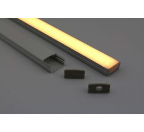 MLS 800035 Aluminium Profile 2m surface fit Double profile shallow finish opaque Aluminium