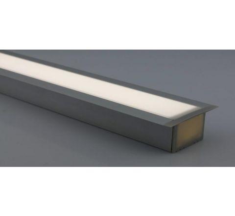 MLS 800038 Aluminium Profile 1m flush fit triple profile deep finish opaque Aluminium