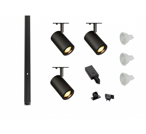 MLS 800152 Enola x 3 Track Lighting Kit Black (1m Track Kit) Dimmable