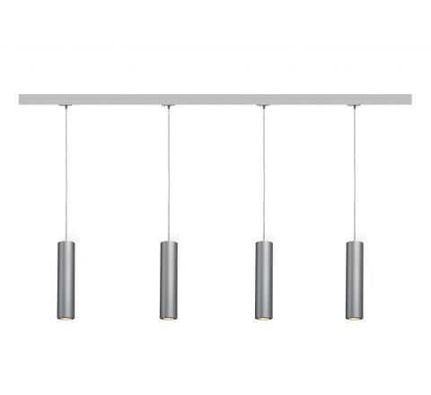 MLS 800118 Enola Silver x 4 (2M Track Kit) Dimmable Silver Grey