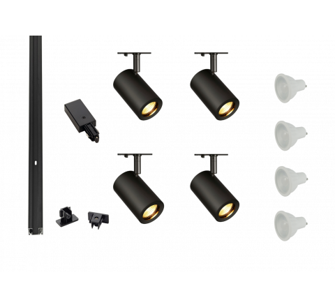 MLS 800155 Enola x 4 Track Lighting Kit Black (2m Track Kit) Dimmable