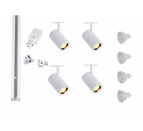 MLS 800154 Enola x 4 Track Lighting Kit White (2m Track Kit) Dimmable