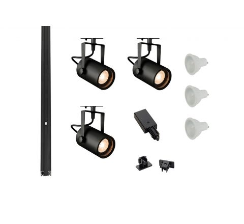 MLS 800149 Eurospot x 3 Track Lighting Kit Black (1m Track Kit) Dimmable