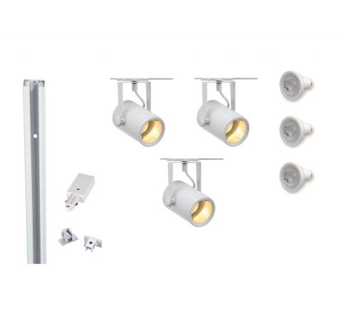 MLS 800059 Eurospot GU10 x 3 Track Kit White (1m Track Kit) Dimmable