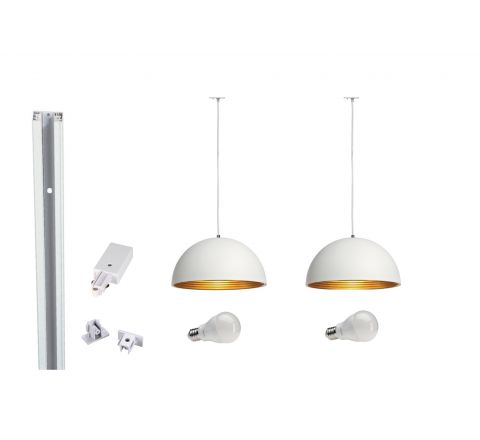 MLS 800018 Forchini x 2 Track Kit White (2 x 1m tracks and 1 x coupler supplied) Dimmable
