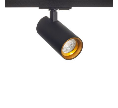 Tube GU10 Black with Gold inset Multi Circuit Track Spot, Dimmable, Requires GU10 LED
