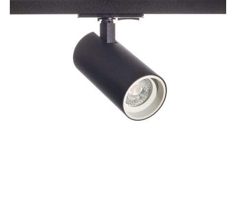 Tube GU10 Track Spot Black with White Bezel for Multi Circuit Track Dimmable requires GU10 LED