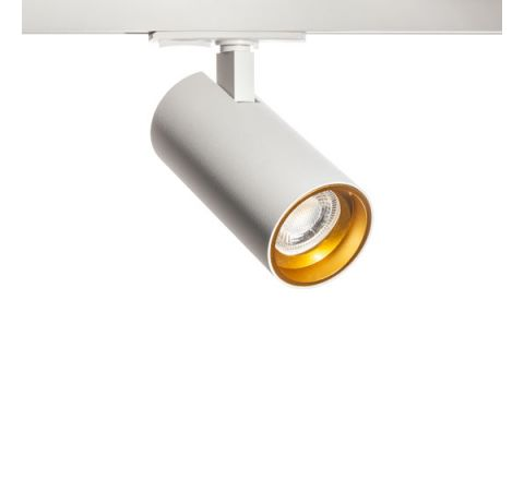 Tube GU10 White with Gold inset Multi Circuit Track Spot , Dimmable, Requires GU10 LED