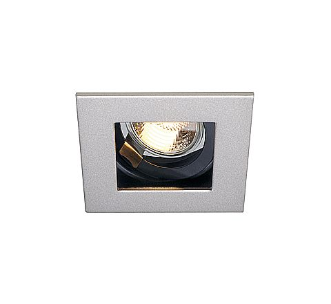 SLV 112474 Indi 1 Silver Grey/Black Adjustable, Requires GU10 LED, cut out 90mm x 90mm