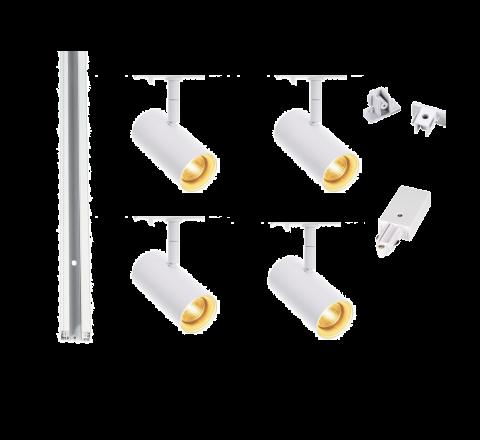 MLS 800160 Noblo x 4 Track Lighting Kit White (2m Track Kit) Non Dimmable