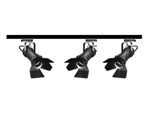 MLS 800147 Theatre GU10 with Barn Doors x 3 Track Kit Black 1M (Dimmable)