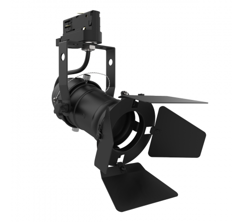 Theatre GU10 Tracklight Black complete with Barn Doors, Dimmable, Requires GU10 LED