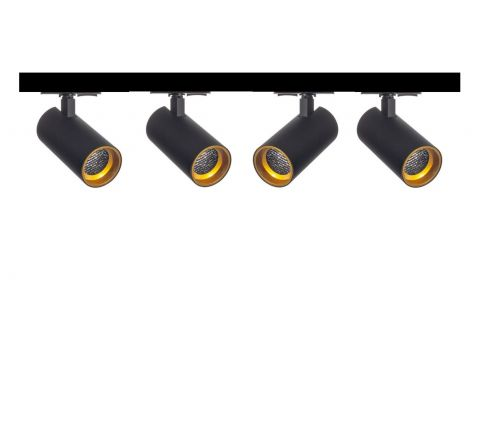 Tube Black Gold inset Honeycomb  x 4 Track Lighting Kit Black Dimmable (2m Track Kit)