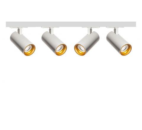 Tube White Gold inset x 4 Track Lighting Kit White Dimmable (2m Track Kit)